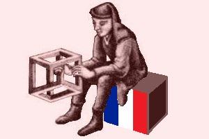 un uomo seduto su un cubo con i colori francesi regge un cubo impossibile