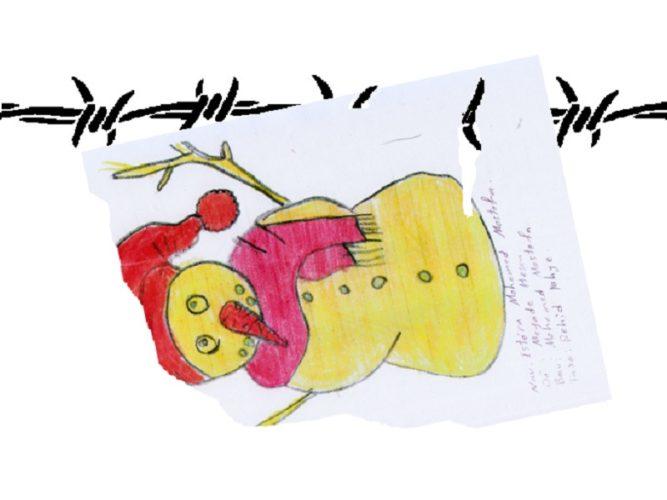 Tracce da altri mondi: disegno infantile con filo spinato