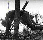 il cadavere di un soldato accasciato sul filo spinato